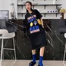 【GZ L2】長洋裝 韓版寬鬆笑臉字母印花短袖t恤裙 側開叉連身長裙