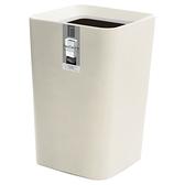 日本ASVEL方形雙層垃圾桶6.6L-白