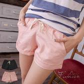 短褲--百搭熱賣款抽繩鬆緊褲頭反折休閒短褲(黑.粉XL-5L)-R158眼圈熊中大尺碼