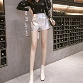 亮皮短褲女高腰2020新款秋冬顯瘦打底休閒褲a字闊腿銀色Pu皮褲潮 滿天星