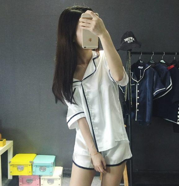 (全館一件免運)DE SHOP ~(GT4795)兩件一組 學院風翻領滾邊短袖上衣+鬆緊短褲家居服睡衣套裝