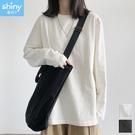 【V3257】shiny藍格子-簡約休閒.純色圓領寬鬆長袖上衣