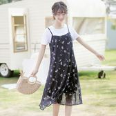 吊帶裙 帛卡琪夏季黑色套裝裙短袖碎花裙子兩件套雪紡吊帶連身裙 【唯伊時尚】