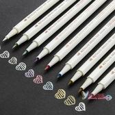 油漆筆 優湃小清新金屬珠光水彩軟筆彩色記號筆涂鴉相冊筆黑頁紙用 10色