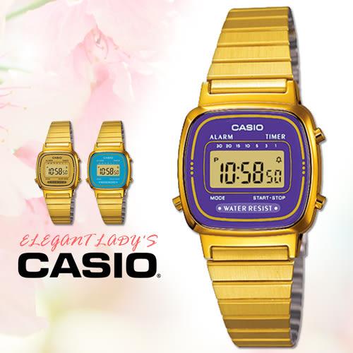 CASIO手錶專賣店 卡西歐 LA670WGA-6D F 女錶 電子錶 壓克力玻璃 鬧鈴 不鏽鋼錶帶 可調式錶帶扣