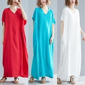 長裙 洋裝 mm遮肚中大尺碼 女裝洋氣波西米亞文藝棉質減齡寬鬆中長款連衣裙 新年特惠