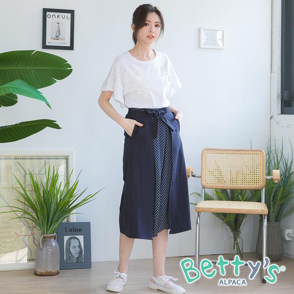 betty's貝蒂思 水玉圓點綁帶拼接造型長裙(深藍)