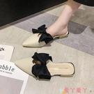 穆勒鞋包頭半拖鞋女外穿2021新款韓版蝴蝶結尖頭涼拖鞋粗跟網紅穆勒鞋潮 愛丫 新品