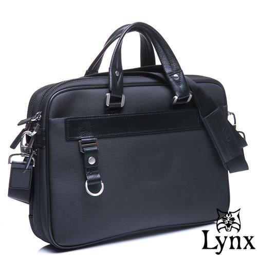 Lynx - 山貓經典極簡風格手提真皮側背公事包-經典黑