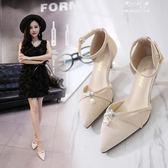 細跟尖頭高跟鞋淺口黑色包頭中空涼鞋女珍珠腳環中跟單鞋 伊莎公主