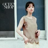 Queen Shop【01150044】前片交叉設計棉麻背心 兩色售*預購*