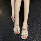 夏季新款外穿涼拖鞋平底人字拖兩穿夾趾花朵涼拖鞋女沙灘鞋子  草莓妞妞