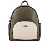 【COACH】Court 荔枝皮革拼色口袋後背包(卡其綠/白色/黑色) C2797 QBRO5