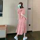 2021新款超仙氣露背蝴蝶結碎花洋裝/連衣裙甜美淑女短袖泡泡袖中 快速出貨