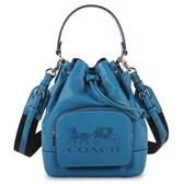COACH JES大馬車壓紋全皮款束口水桶包(雀藍色)195402-1