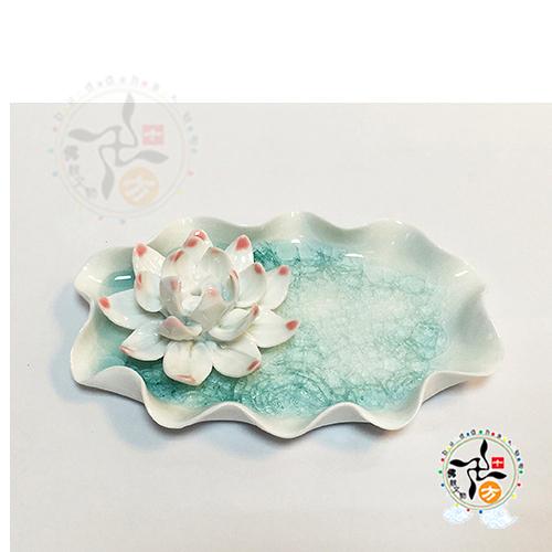 蓮花結晶釉陶盤插香爐【十方佛教文物】