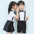 花童禮服 兒童禮服男童女童表演服花童幼兒園六一演出服大合唱校服背帶裝夏 瑪麗蘇