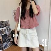 短袖襯衫女夏季法式甜美減齡短款上衣方領小個子娃娃衫【Kacey Devlin】