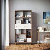 書櫃北歐書櫃書架組合現代簡約書櫥書房小戶型置物架木櫃子家具BA1X XW