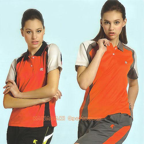 日本名牌Kawasaki女版運動休閒吸濕排汗短POLO衫(桃紅/橘)