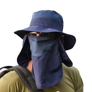 PUSH!戶外用品防曬帽子遮陽帽漁夫帽釣魚透氣遮臉帽H34藏青色