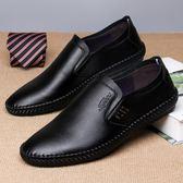 新款軟底黑色春季懶人男士休閒皮鞋韓版
