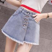 VK旗艦店 韓系牛仔裙褲寬鬆學生高腰紐扣熱褲單品短褲