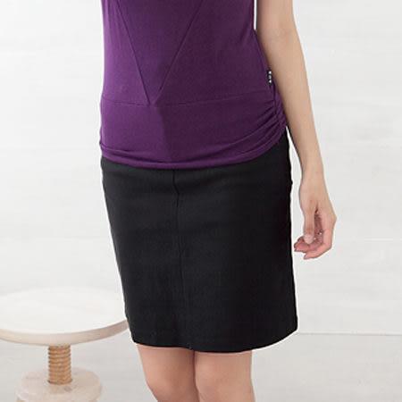 裙子--隨心優雅上班族必備素面膝上窄裙(M-5L)-Q24眼圈熊中大尺碼◎