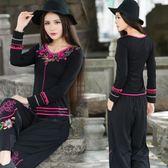 中國風大尺碼長版上衣 民族風女裝修身顯瘦復古立體繡花長袖T恤打底衫