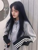 特賣POLO杉假兩件女上衣寬鬆秋季新款韓版原宿風撞色刺繡POLO領長袖T恤潮
