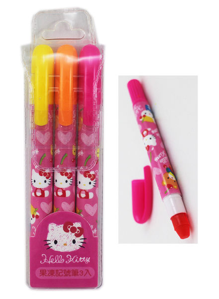 【卡漫城】 Hello Kitty 果凍筆 3支入 ㊣版 凱蒂貓 三麗鷗 記號筆 重點筆 好書寫 螢光筆 蠟筆