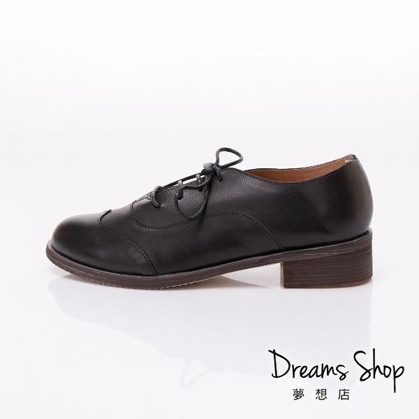 大尺碼女鞋 夢想店 時尚簡約款擦色頭層羊皮精品牛津鞋3.5cm(41-45)【JSP021-1】黑色