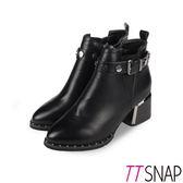 TTSNAP短靴-韓國空運鉚釘尖頭側拉鍊中跟靴 黑