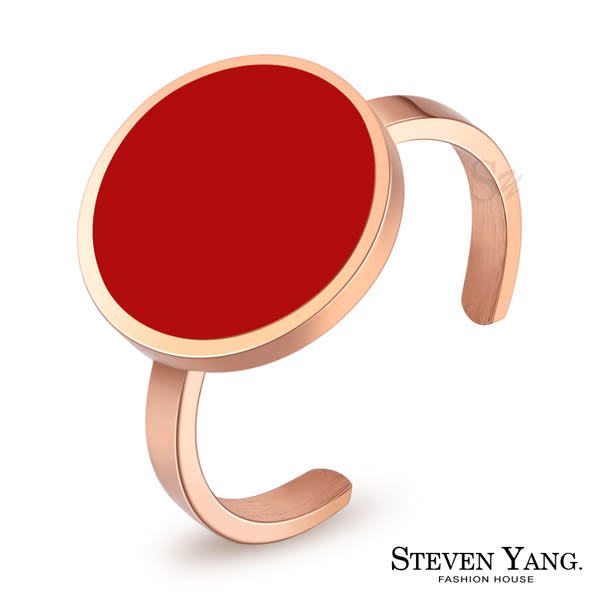 戒指 西德鋼飾 俏皮甜心 紅色款 圓形簡約 孔孝真韓劇相似款 韓版