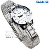CASIO卡西歐 LTP-V004D-7B 都會數字錶 指針錶 女錶 不銹鋼錶帶 白色 指針錶 防水手錶 LTP-V004D-7BUDF