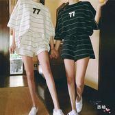 全館一件優惠-短袖褲裝夏新品大尺碼短袖短褲休閒運動套裝女兩件套運動跑步學生寬鬆胖S-3XL