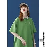 短袖T恤女夏季薄款韓版寬鬆半袖港味上衣設計感小眾5分POLO衫【聚物優品】