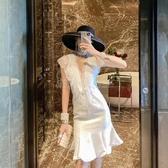 禮服不支持退換 性感氣質女神范法式小眾洋裝女夏2020新款名媛顯瘦魚尾禮服裙子 滿天星