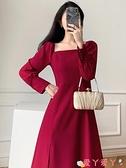 小禮服 赫本風法式復古小禮服收腰顯瘦側開叉長裙子方領紅色連身裙女秋冬 愛丫 免運
