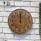 美式復古現代年輪創意木質裝飾掛鐘家居客廳店鋪壁飾酒吧壁掛壁飾 【618特惠】