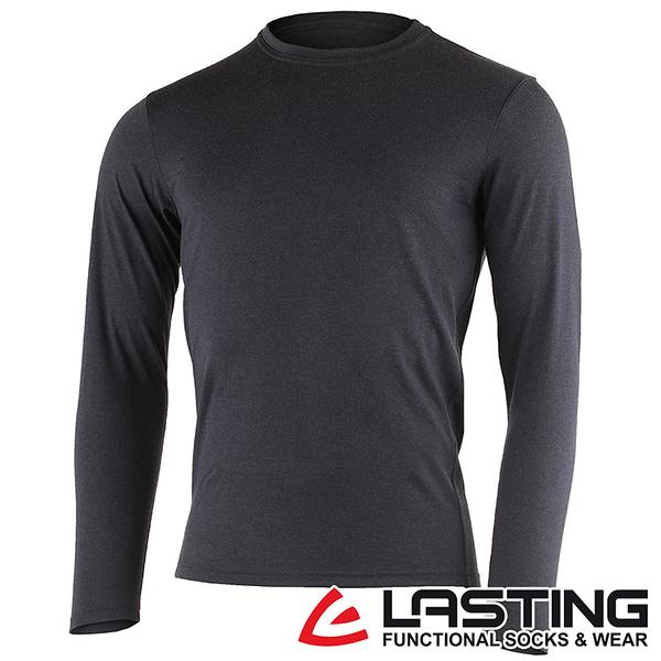 丹大戶外用品【LASTING】男款長袖羊毛T恤 LT-LOGAN 黑灰