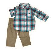 Carter s 長袖套裝 西裝襯杉+長褲二件組卡其 男寶寶【CA229G010】