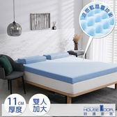 House Door 防蚊防螨11cm藍晶靈涼感舒壓記憶床墊-雙大雪花藍