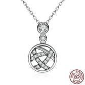 925純銀項鍊鑲鑽吊墜-歐美時尚精美閃耀女飾品73og41【時尚巴黎】