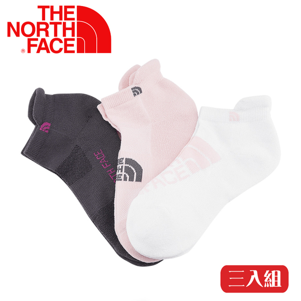 【The North Face 運動襪-三雙組《粉紅/深灰/白》】3RJC/吸濕透氣/耐磨/短襪/襪子/跑步