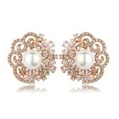 耳環 純銀鍍18K金鑲鑽-華麗高貴生日聖誕節交換禮物女飾品色73cr111【時尚巴黎】