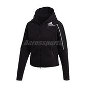 adidas 外套 Z.N.E. Hoodie 黑 白 女款 連帽外套 短版 蝙蝠袖 運動休閒 【ACS】 GM3275