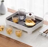 茶盤 茶盤家用輕奢現代簡約茶具儲水茶海放茶杯瀝水小型茶臺長方形托盤