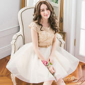 洋裝 鏤空線條珠珠歐根紗短袖洋裝-Ruby s 露比午茶