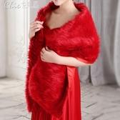 禮服 一字款婚紗披肩新娘結婚禮服旗袍外套裝保暖「七色堇」